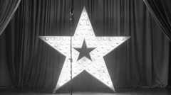 Star Stage Set and Microphone, Black and White Stock Footage