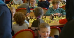 Kids on a Chess Tournament of Black Knight Club, Where They Smile, Laugh Anf Stock Footage