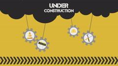 Under Construction set on white background Stock Footage
