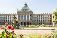Alter Botanischer Garten and Palace of Justice in Munich - stock photo