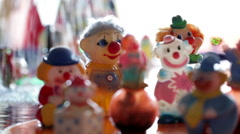 Souvenir Clowns Figurines Stock Footage