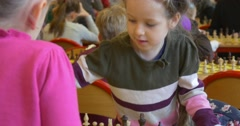 "Preschool Girls Playing at Polish Chess Competions Organized by ""black Knight"" Stock Footage"
