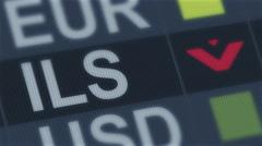 Israeli shekel falling. World exchange market default. Global financial crisis Stock Footage