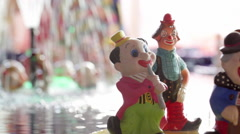 Handmade Clowns Figurines Stock Footage