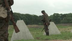 WW2 German Soldiers in Defensive position at the frontlines Stock Footage