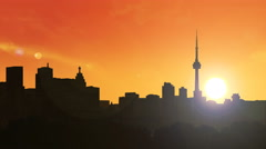 Toronto Skyline Sunrise -4K Stock Footage