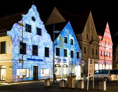 Iluminated House Facades - stock photo
