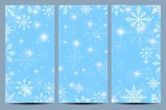 Happy New Year Flyers. Blue background with snowflakes. Modern design vector Stock Illustration