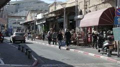 Tel Aviv Jaffa December 27 2015 fleet market street Stock Footage