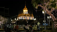 Metal palace with lights for kings birthday,Bangkok,King birthday,Thailand Stock Footage
