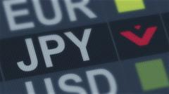 Japanese yen falling. World exchange market default. Global financial crisis Stock Footage