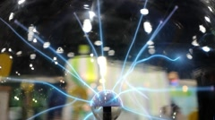 Plasma Globe or Tesla Ball on Science Exhibition Stock Footage