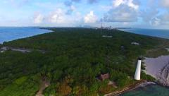 Aerial 4K Cape Florida Lighthouse Bill Baggs State Park Key Biscayne, Florida Stock Footage