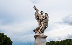 Angel with the Cross on the Bridge of Hadrian - Rome, Italy - stock photo