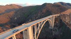 Aerial drone view flying over bixby bridge in big sur california Arkistovideo