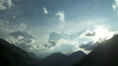Approaching storm in the austrian alps Stock Footage