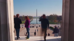 4K, Washington Monument Timelapse from inside the Lincoln Memorial Stock Footage
