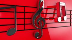 Music notes on staves Stock Illustration
