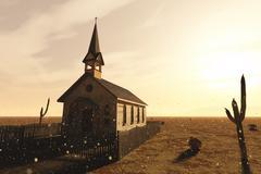 Old Wooden Christian Desert Chapel - stock illustration