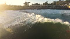 aerial drone view of surfers at steamer lane, santa cruz - stock footage