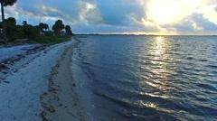 Aerial 4K Sunrise Key Biscayne Bay Hobe Beach in Key Biscayne, Florida Stock Footage