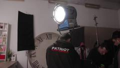 Behind the scenes shooting of the film. People on the set of the film - stock footage