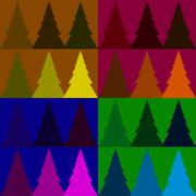 Seamless vector pattern colorful fir forest Stock Illustration