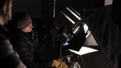 Stock Video Footage of Installation of lighting equipment on the set of the film. Film production