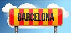 barcelona yellow and red catalan flag street road - stock illustration