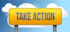 Stock Illustration of take action yellow street road sign