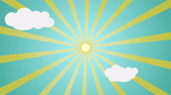 Cartoon sun light over blue sky with clouds Background for your text or logo. - stock footage