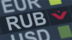 Russian ruble falling. World exchange market default. Global financial crisis Stock Footage