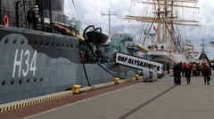 "People visit Polish destroyer ship ""ORP Blyskawica"" in Gdynia, Poland. Stock Footage"