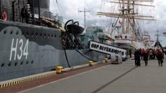 "People visit Polish destroyer ship ""ORP Blyskawica"" in Gdynia, Poland. - stock footage"