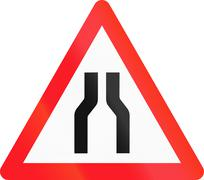 Warning sign used in Switzerland - road narrows - stock illustration