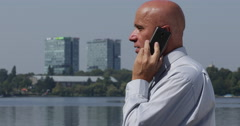Serious Manager Cell Phone Arguing Directive Instructions Business Partner Deal - stock footage