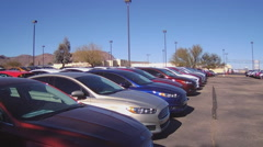 Row Of New Cars Automobiles At Car Dealership - stock footage