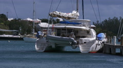 Luxury catamaran docked in Saint George, Bermuda - stock footage