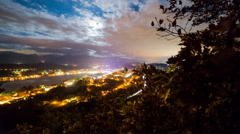 Time Lapse - Town at a fullmoon night with traffic on a highway - stock footage