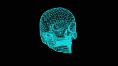 Skull mesh spinning animation Stock Footage