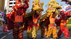 Chinese dragon dancers,Bangkok,King birthday,Thailand Stock Footage