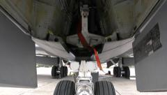 A view of the landing gear mechanism of US Air Force 100th Air Refueling Wing KC Stock Footage