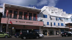 Establishing shot of main street in Hamilton, Bermuda - stock footage
