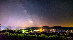 Time Lapse - Moving stars above houses and the lake with a small boat Stock Footage