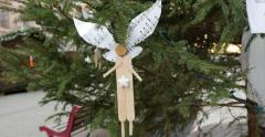 Vintage hand-made Christmas ornament toy angel Stock Footage