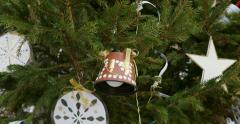 Vintage hand-made Christmas ornament bell toy - stock footage