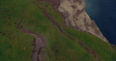 Aerial drone view fly off Cliffs of Moher Stock Footage