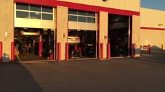 Evening sun on a mechanic garage Stock Footage