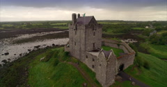 Aerial drone view of Dunguaire Castle in Ireland Stock Footage