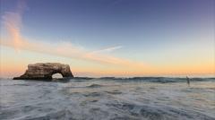 Natural Bridges State park at sunset in Santa Cruz Stock Footage